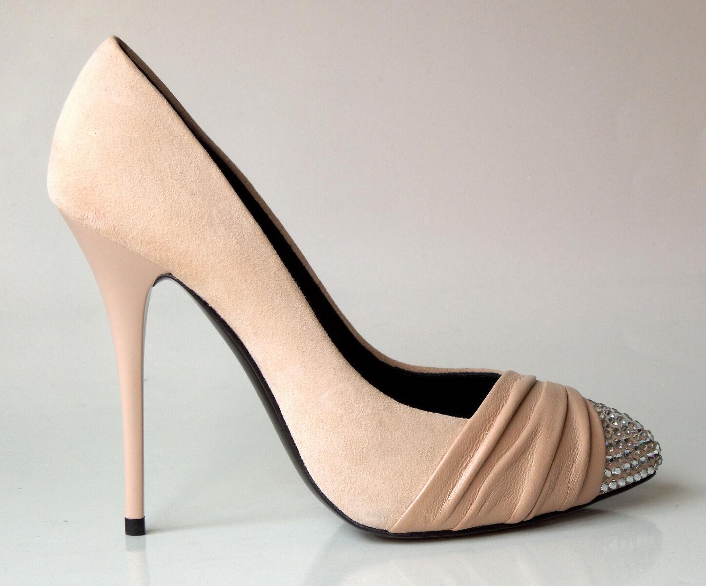 tutti i beni sono speciali New  1195 Giuseppe ZANOTTI nude suede JEWELED TOE TOE TOE platforms scarpe - AMAZING  tempo libero