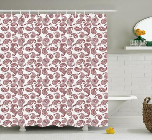 Paisley Shower Curtain Fabric Bathroom Decor Set with Hooks 4 Sizes