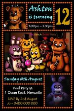 Five Nights At Freddys Personalised Kids Birthday Party Invite Invitations