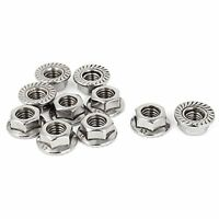 8mm Height M8 Thread Stainless Steel Serrated Hex Flange Nuts 10 Pcs, New, Free on sale