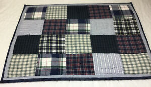 Patchwork Quilt Wall Hanging, Large Squares, Plaids, Checks, Navy Blue, White