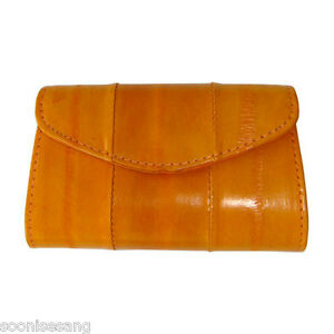 Genuine-Eel-Skin-Leather-Button-Coin-Purse-Rectangle-Mini-Wallet-Dark-Orange