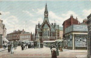 Bedfordshire-Postcard-Corn-Exchange-and-Market-Luton-A5325