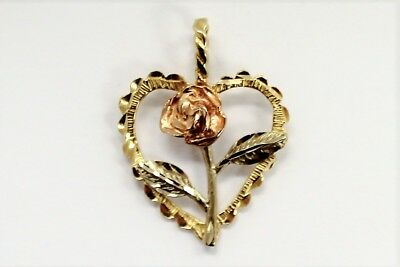 14k Tri Color Gold Flower in Heart Pendant Charm