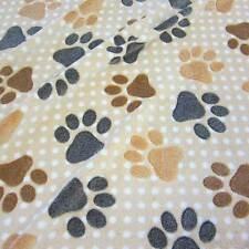 Stoff Meterware Wellness Fleece beige Tatze Pfote Punkte Hund kuschelweich neu