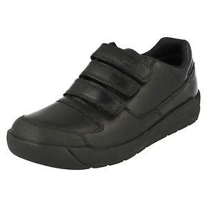 Inf Zapatos de escolares Flare negro para Lite cuero niños Clarks Jnr 6Hg6qw