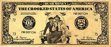 """$2.00 POLITICAL SATIRICAL NOTE ON NIXON """"HUSH MONEY, CROOKED STATES OF AMERICA"""""""