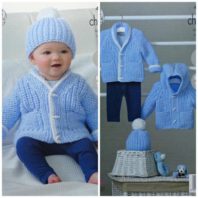 King Cole Baby Chunky Knitting Pattern Easy Knit Raglan Sleeve Jacket /& Hat 4843