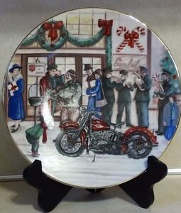 VINTAGE-1987-HARLEY-DAVIDSON-CHRISTMAS-NUMBERED-MOTORCYCLE-COLLECTIBLE-PLATE