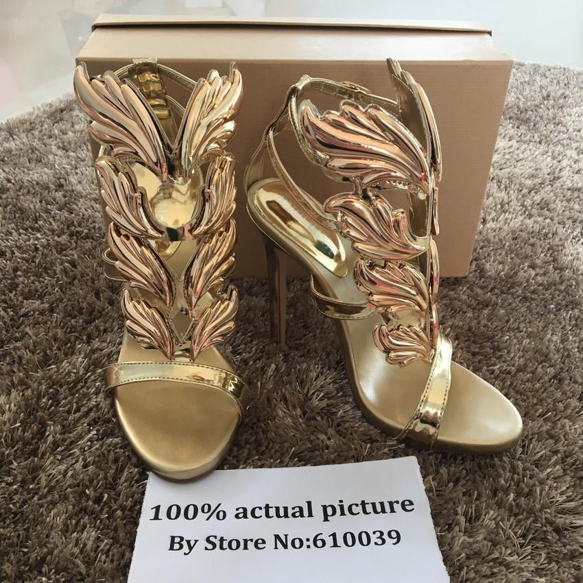 Hot sell women high heel sandals gold leaf flame gladiator sandal shoes party dr