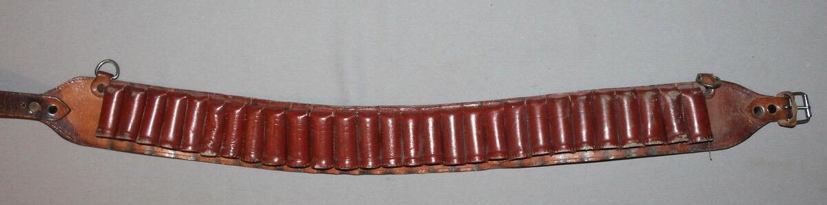 Vintage Caza Rifle Pistola Cartucho Cinturón De Cuero