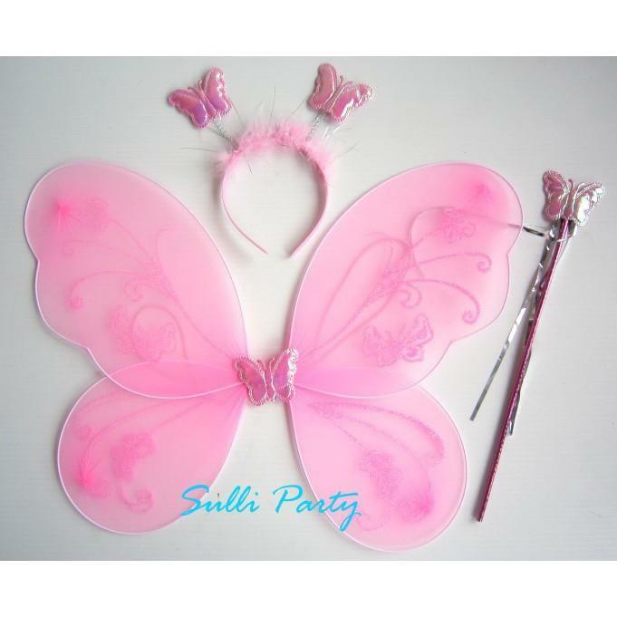 Butterfly Wing Wand Headband Fairy Princess Party Costume 2 pack 6 pcs