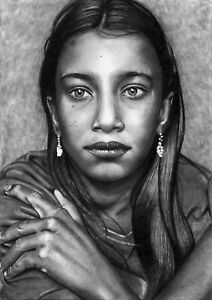 """Print of Realistic Female Pencil Sketch Drawing """"A GIRL WITH GREEN EYES"""" 5""""x7"""""""