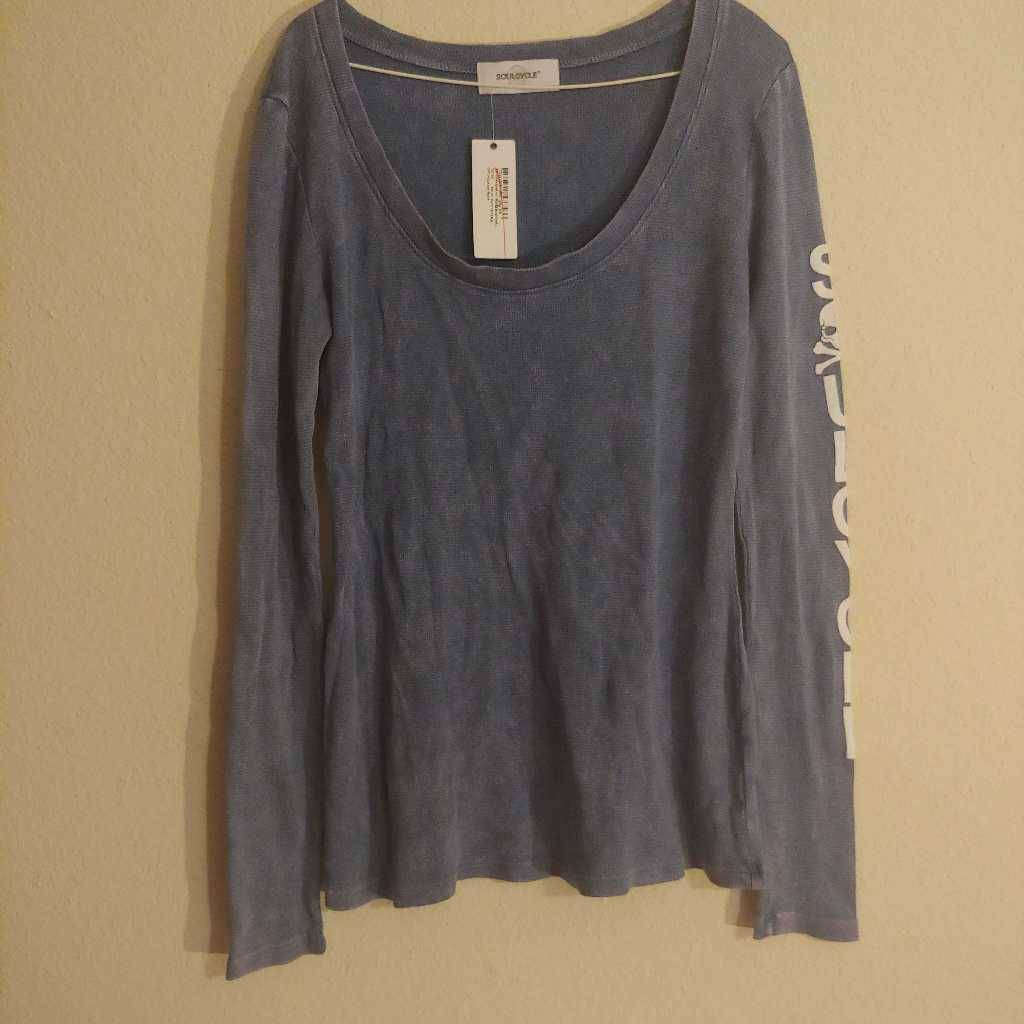 Soulcycle Womens Tharmal T-Shirt Blue Long Sleeve Scoop Neck Spell Out XS New