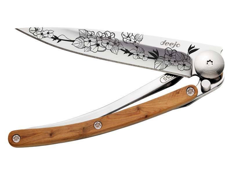 Coltellino deejo Tatuaggio 27g Cherry Blossom ginepro maniglia clip liner lock