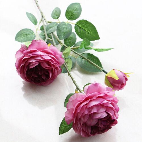 3 Heads Artificial Silk Peony Pink Rose Fake Flowers Wedding Bouquet Home Decora
