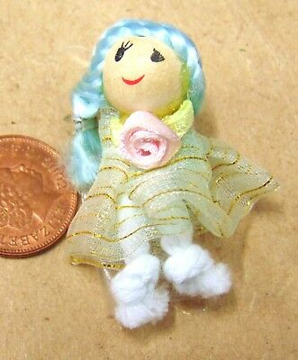 1:12 Scale Pink Rag Doll With A Wooden Head Tumdee Dolls House Accessory S