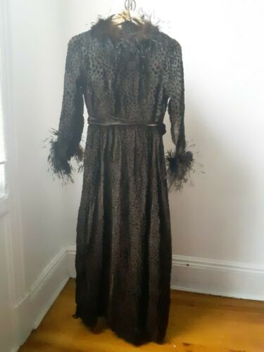 Vintage burn silk Ostrich feather trim gown! 60s C