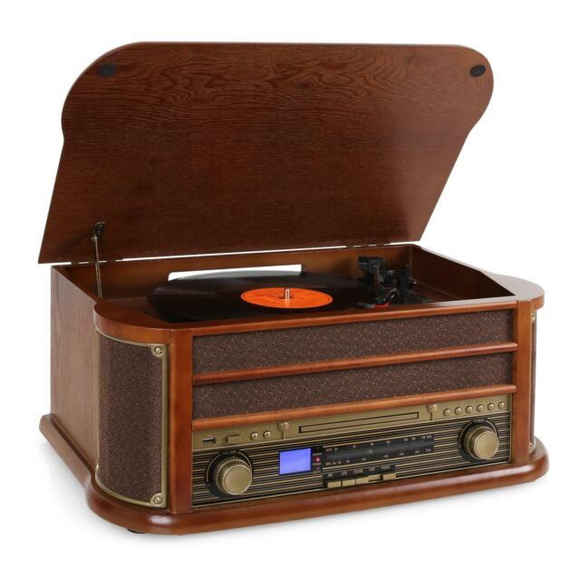 MINICADENA VINTAGE TOCADISCOS CD PLAYER CASETE GRABADORA USB MP3 RADIO -B-Stock