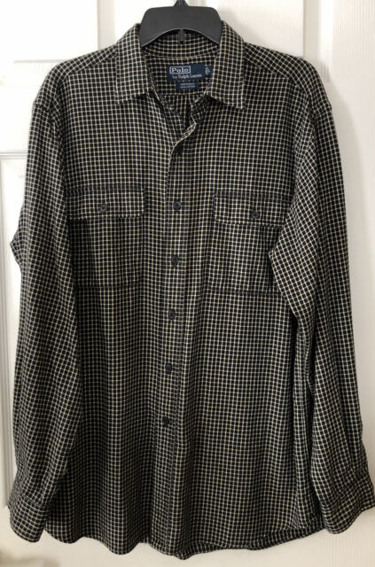 Mens L Polo Ralph Lauren Whitfield Cotton Flannel Black Long Sleeve EUC