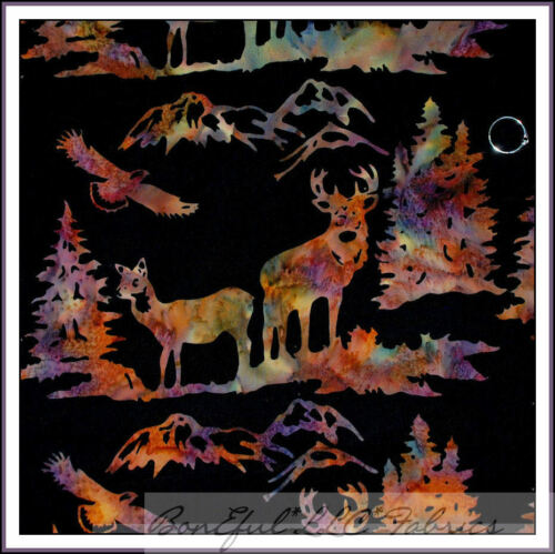 BonEful Fabric FQ Cotton BATIK L Forest Mountain Tree Deer Buck Hunt Eagle Bird