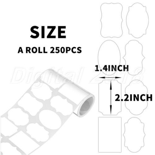 250Pc Removable Waterproof Chalkboard Sticker Label Office Blank Tag White//Black
