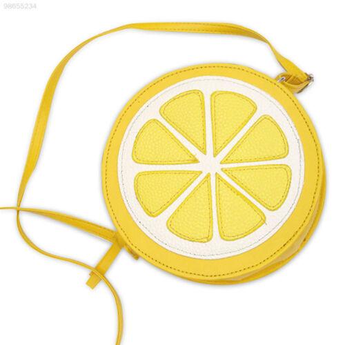1507 Umhängetasche Zitrone Form Tasche Reißverschluss Orange PU-Leder