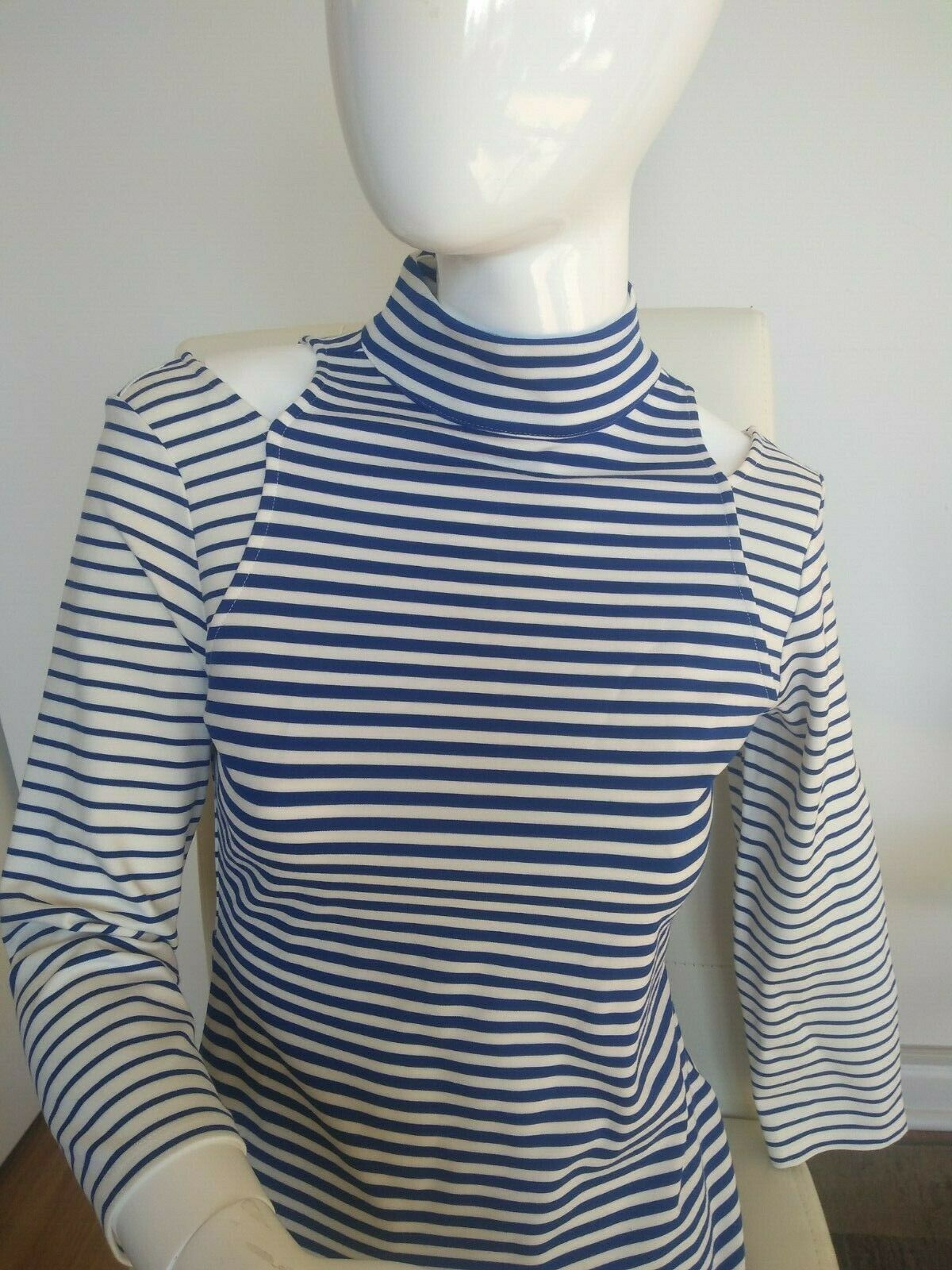 New, Karen Millen, blouse, top, Blau Weiß stripes, SZ US 6 ()