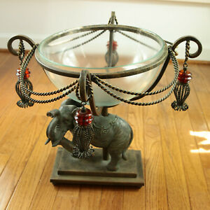 Bronze-Elephant-Centerpiece-Iron-Pedestal-Glass-Bowl-Metal-Rope-Swags-Tassels