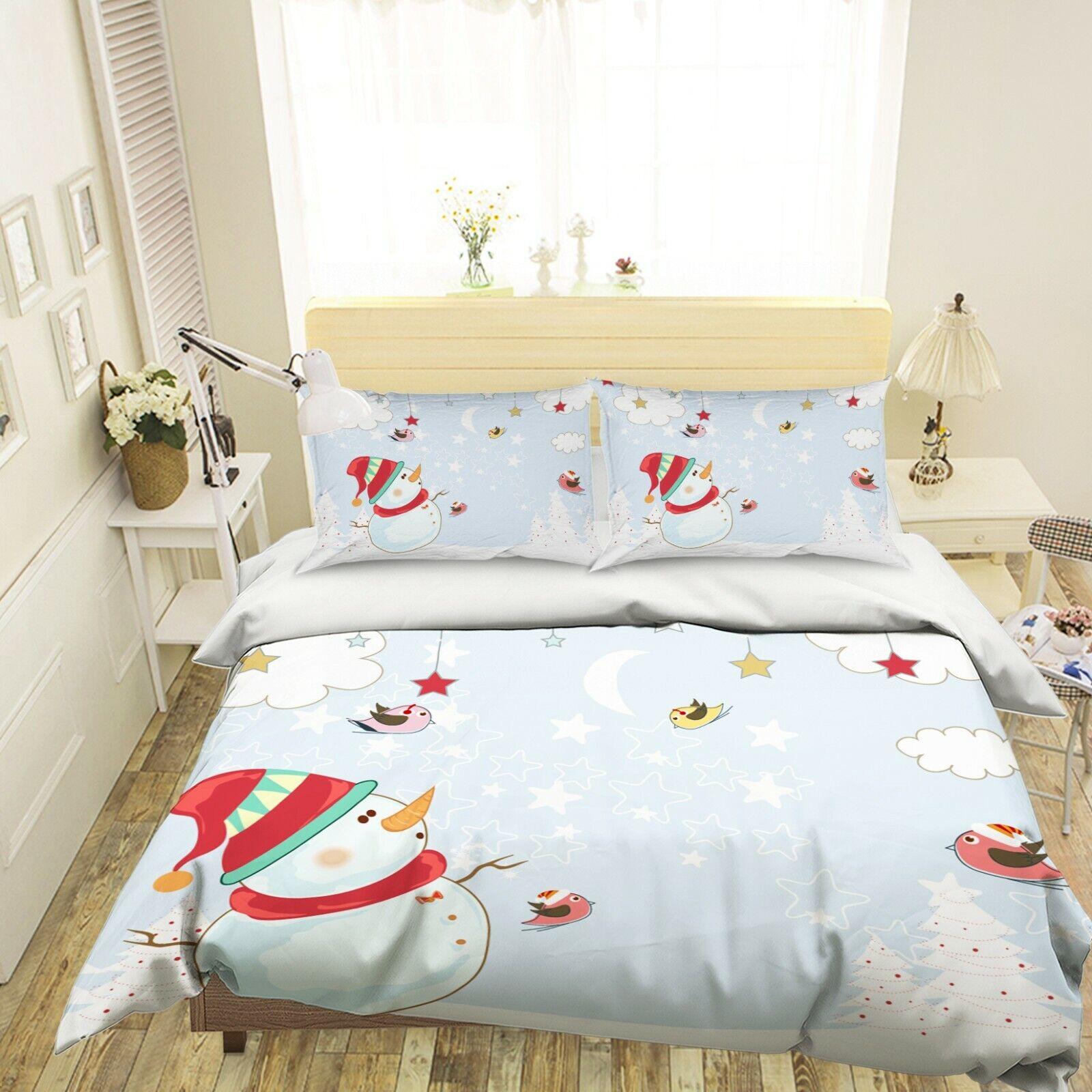 3D Snowman Bird Stars A48 Christmas Bed Pillowcases Quilt Duvet Cover Zoe