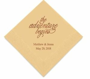 Personalized Printed The Adventure Begins Wedding Reception Napkins Q27513