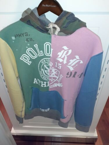 "Polo Ralph Lauren Men/'s Pastel Color Block /""POLO RL/"" Sweatshirt with Camo Hoodie"