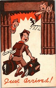 Boy-Scout-Camp-Postcard-BSA-c1947-Just-Arrived-at-Camp-Scouts-S21