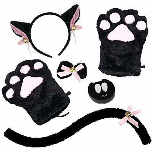 Cat Cosplay Costume 5 PCS Cat Ear and Tail Set with Collar Paws Gloves Halloween