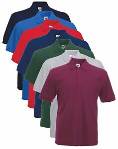 Fruit-of-the-Loom-Heavy-65-35-Polycotton-Polo-Sports-Workwear-Shirt-No-Logo