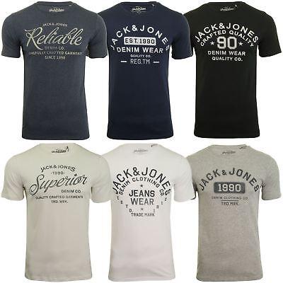 Jack /& Jones Essentials T-Shirt Logo Print Slim Fit Cotton Tee Mens JJEJeans