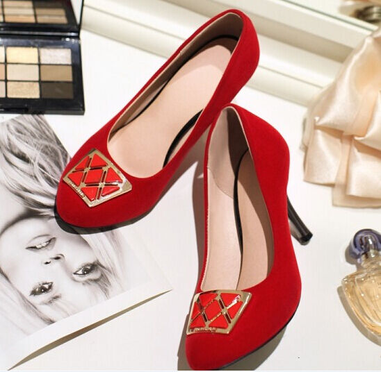 Zapatos de salón salón salón mujer en rojo tacón aguja 8.5 cm 8514  para barato