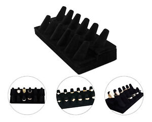 12 Slots Black Velvet Ring Finger