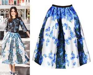 Flower-Striped-Satin-Gazar-Full-Pleated-Midi-Skirt-Sidewalk-Vogue-Elle-Celebrity