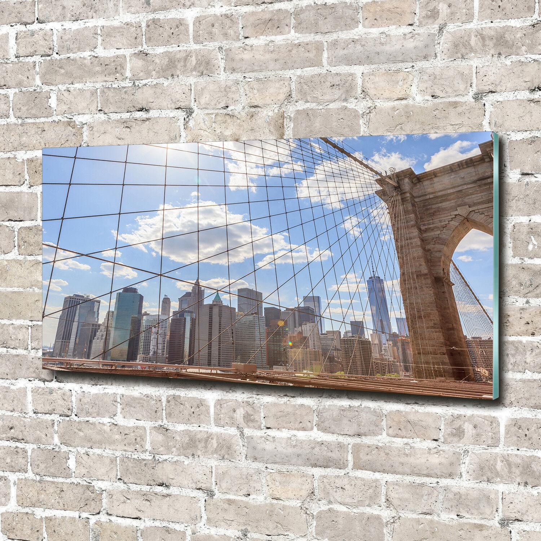 Glas-Bild Wandbilder Druck auf Glas 140x70 Sehenswürdigkeiten Brücke New York