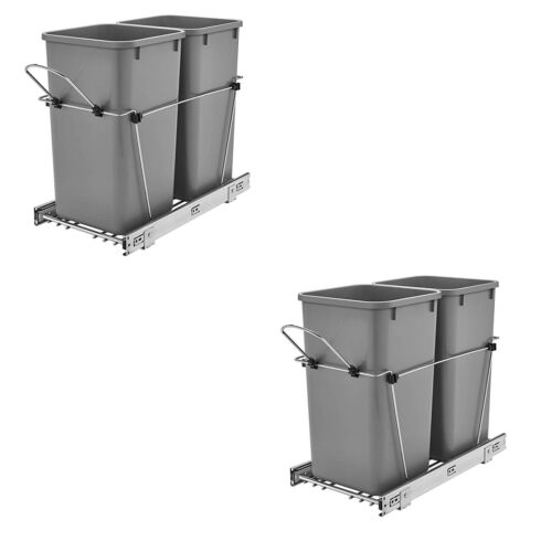 Rev A Shelf Double 27 Qt Sliding Pull Out Waste Bin Container 2 Pack