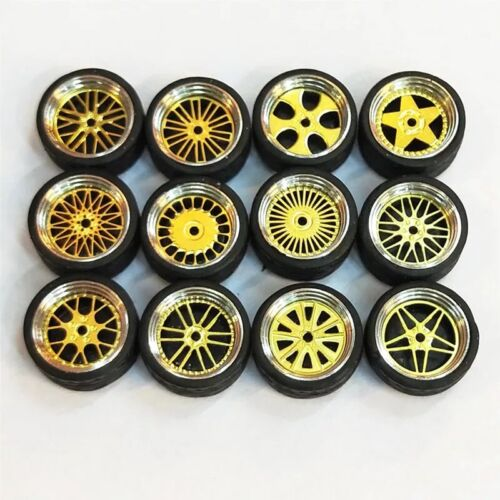 Custom Hot Wheels Matchbox,Tomy Rubber Tires 1//64 Scale Alloy Wheels