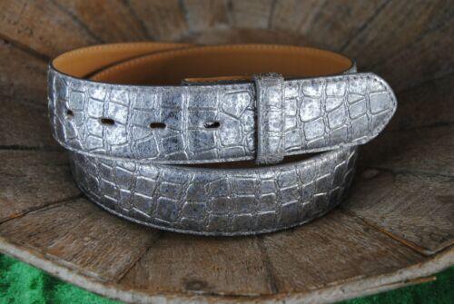 "UmjuBELT Ledregürtel /""New Silver Kroko/"""