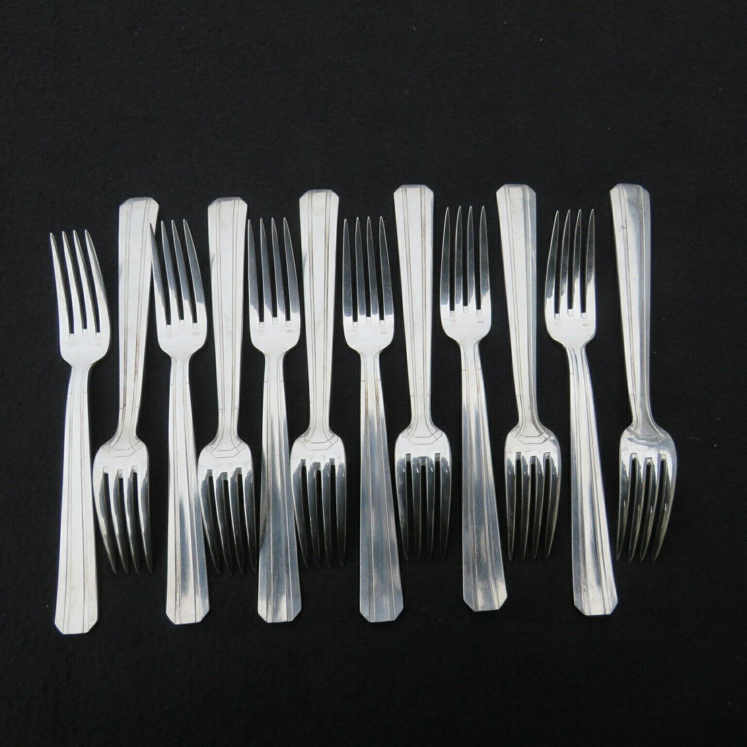 12 fourchettes à entremet en métal argenté orfèvre Perrin  modèle art déco