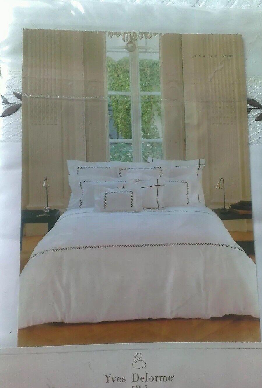 YVES DELORME Laurier EBENE satin brodé Parure de lit King de Luxe | Stocker
