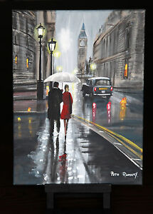ORIGINAL-FINE-ART-OIL-PAINTING-BY-PETE-RUMNEY-039-TOGETHER-IN-LONDON-039