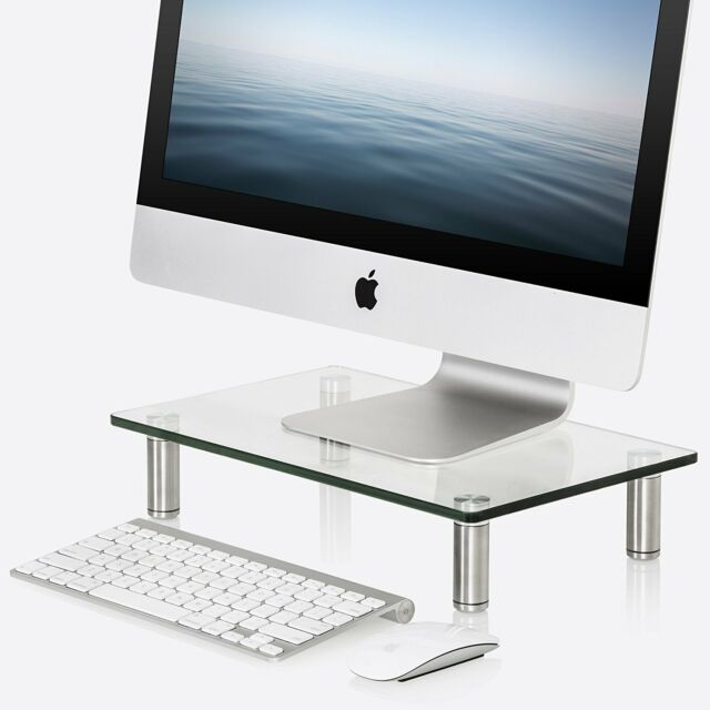 iMac Pc Black Metal Desktop Stand for Laptop Printer Computer 2 Pack -Simple Trending Monitor Stand Riser Desk Organizer