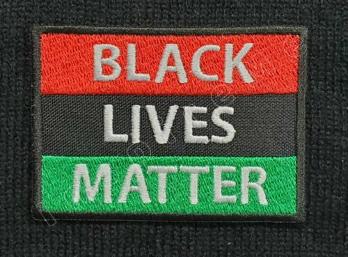 Pan African Flag Black Lives Matter Embroidered Iron On Patch Hook /& Loop BLM