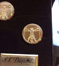 ST DUPONT VITRUVIAN MAN PRESTIGE LIMITED EDITION GOLD CUFFLINKS #xxx/1490