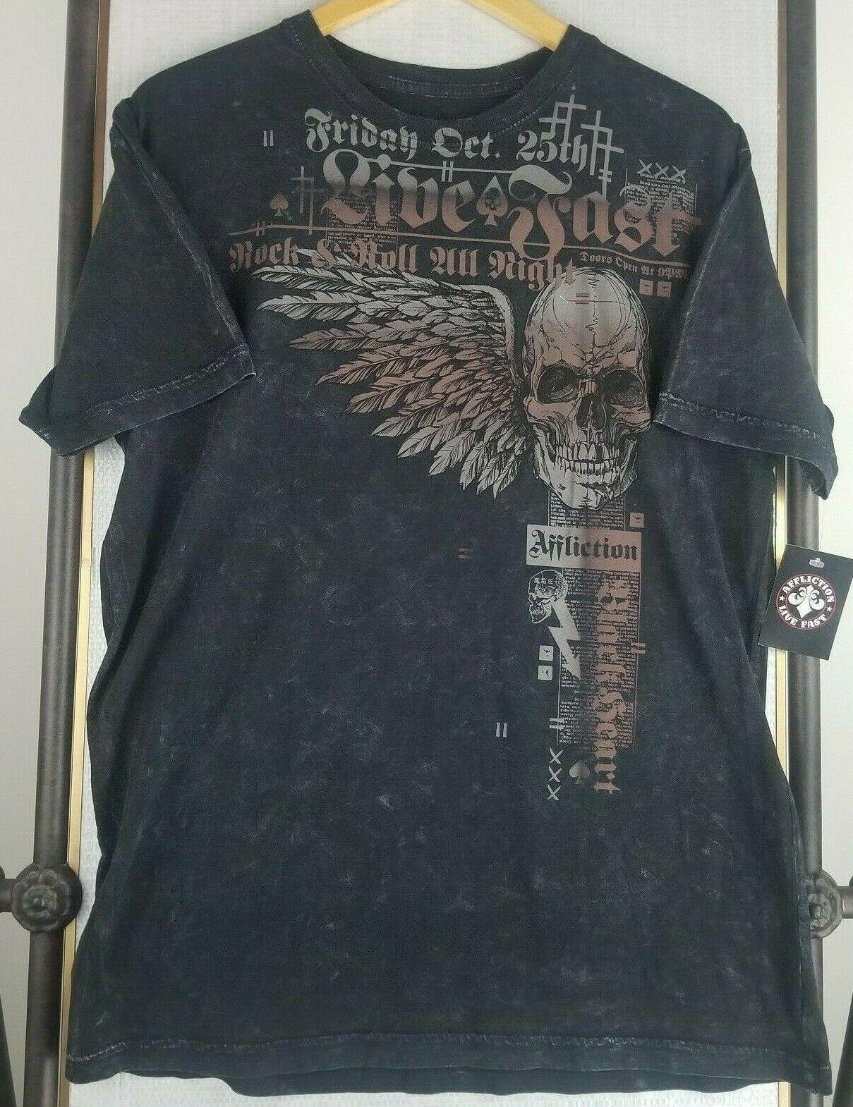 AFFLICTION T-Shirt Rock Speed Weinrot T-Shirts